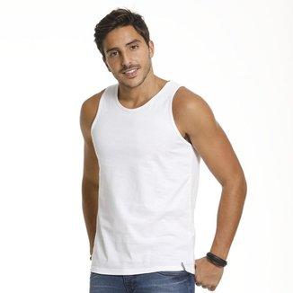 Camiseta Regata VLCS Basica Gola Redonda Branca
