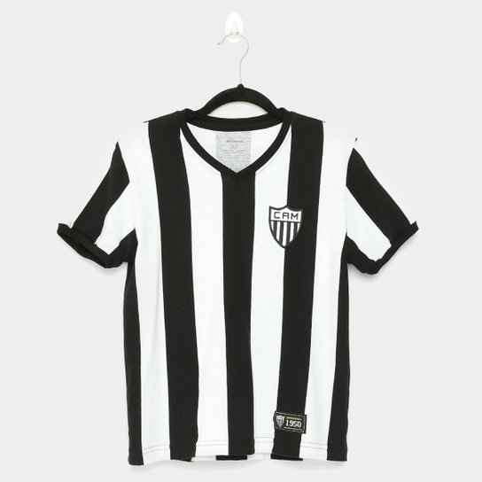 Camiseta Retrô Atlético Mineiro Juvenil 1950 - Preto+Branco