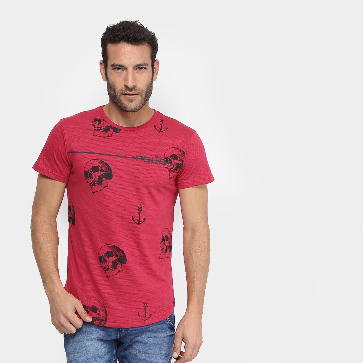 458177d42 Camiseta RG 518 Caveiras e Âncoras Masculina - Vermelho - Compre Agora