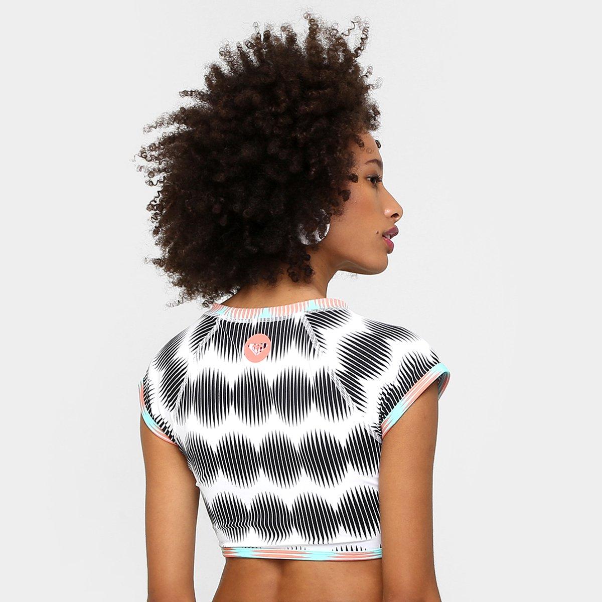 Camiseta e Camiseta Roxy Rashguard Roxy Lycra Rashguard Crop Preto Laranja Lycra Crop qvAInB