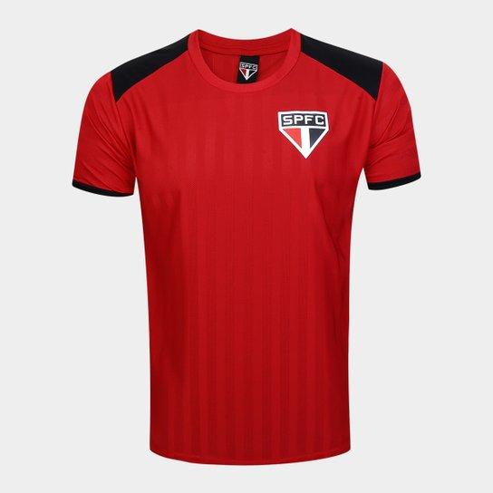Camiseta São Paulo Base Tricolor Masculina - Vermelho+Preto
