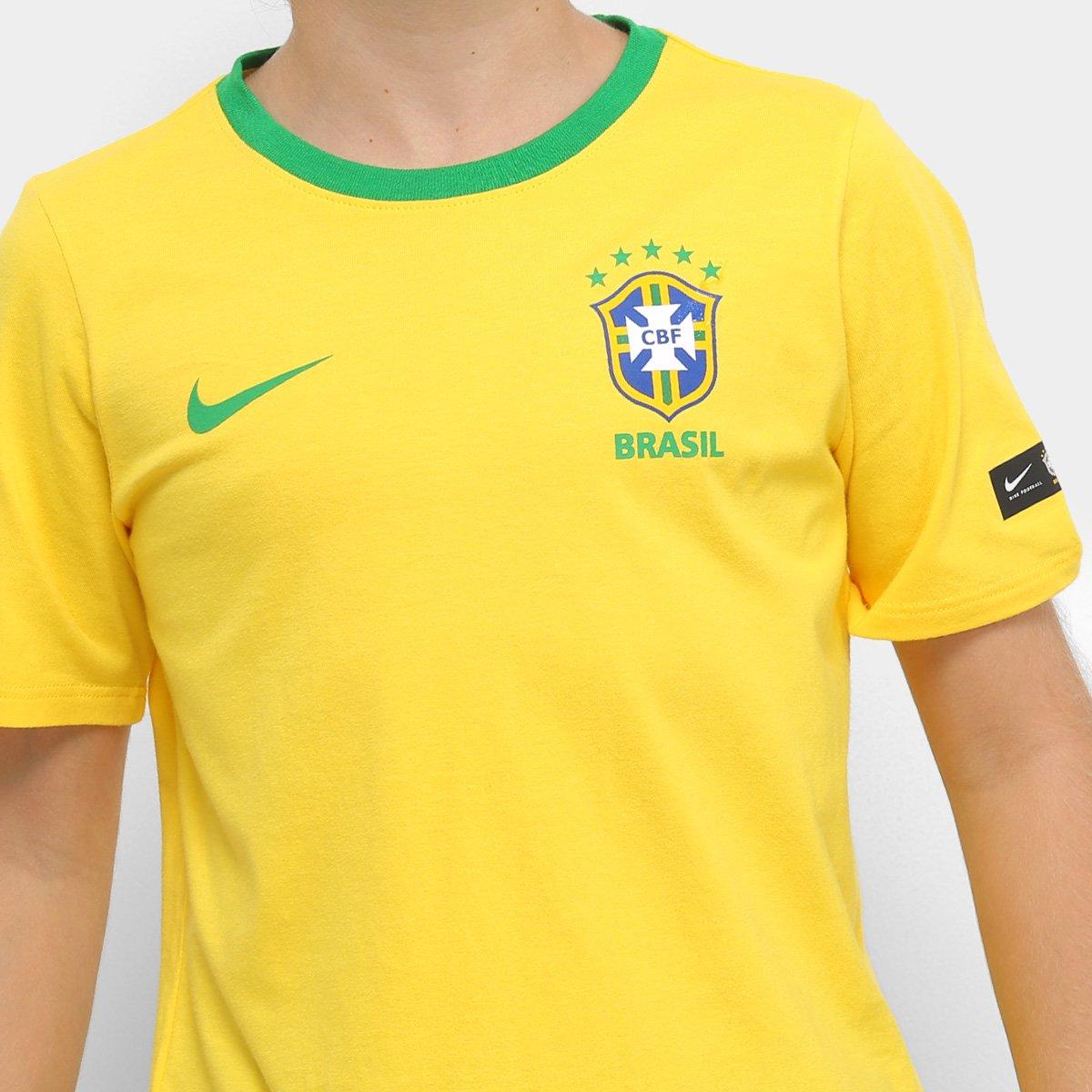 d9aae23b4c Camiseta Seleção Brasil Juvenil Nike B Crest - Compre Agora