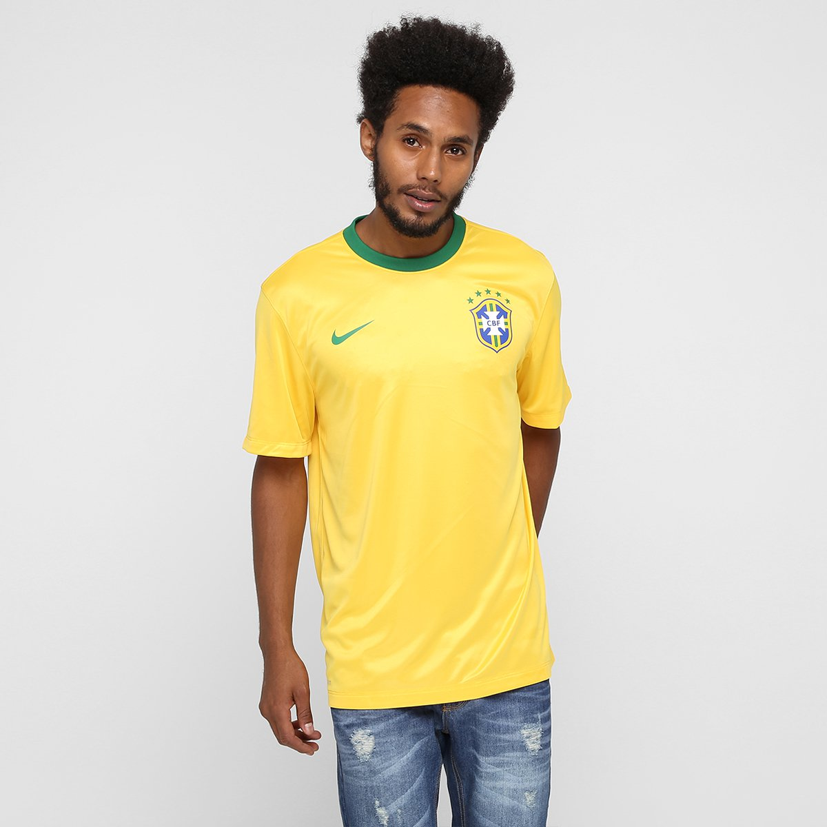 Camiseta Selecao Brasil Nike 2014 Torcedor Masculina Amarelo Verde Netshoes