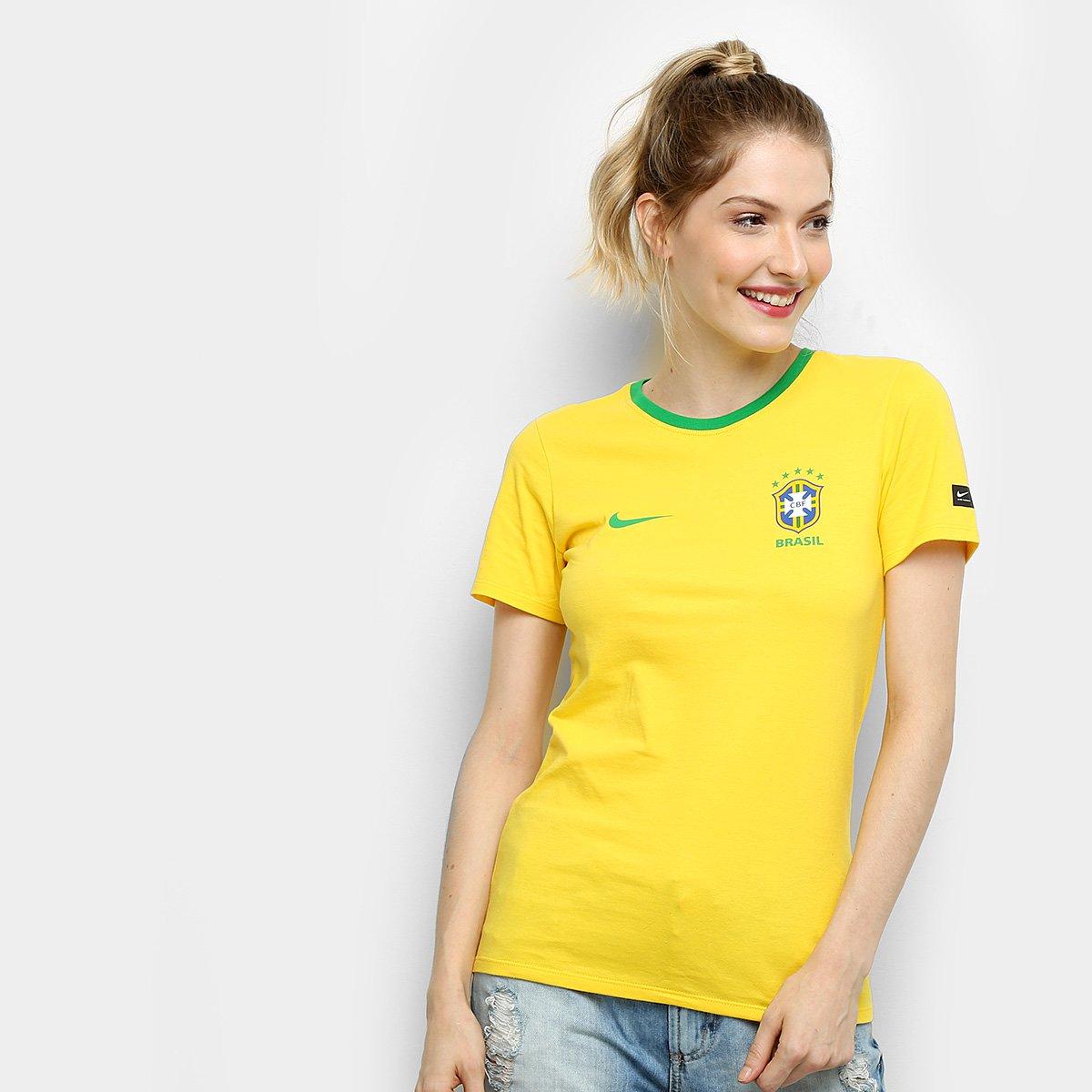 e184cea294 Camiseta Seleção Brasil Nike Crest Feminina - Compre Agora