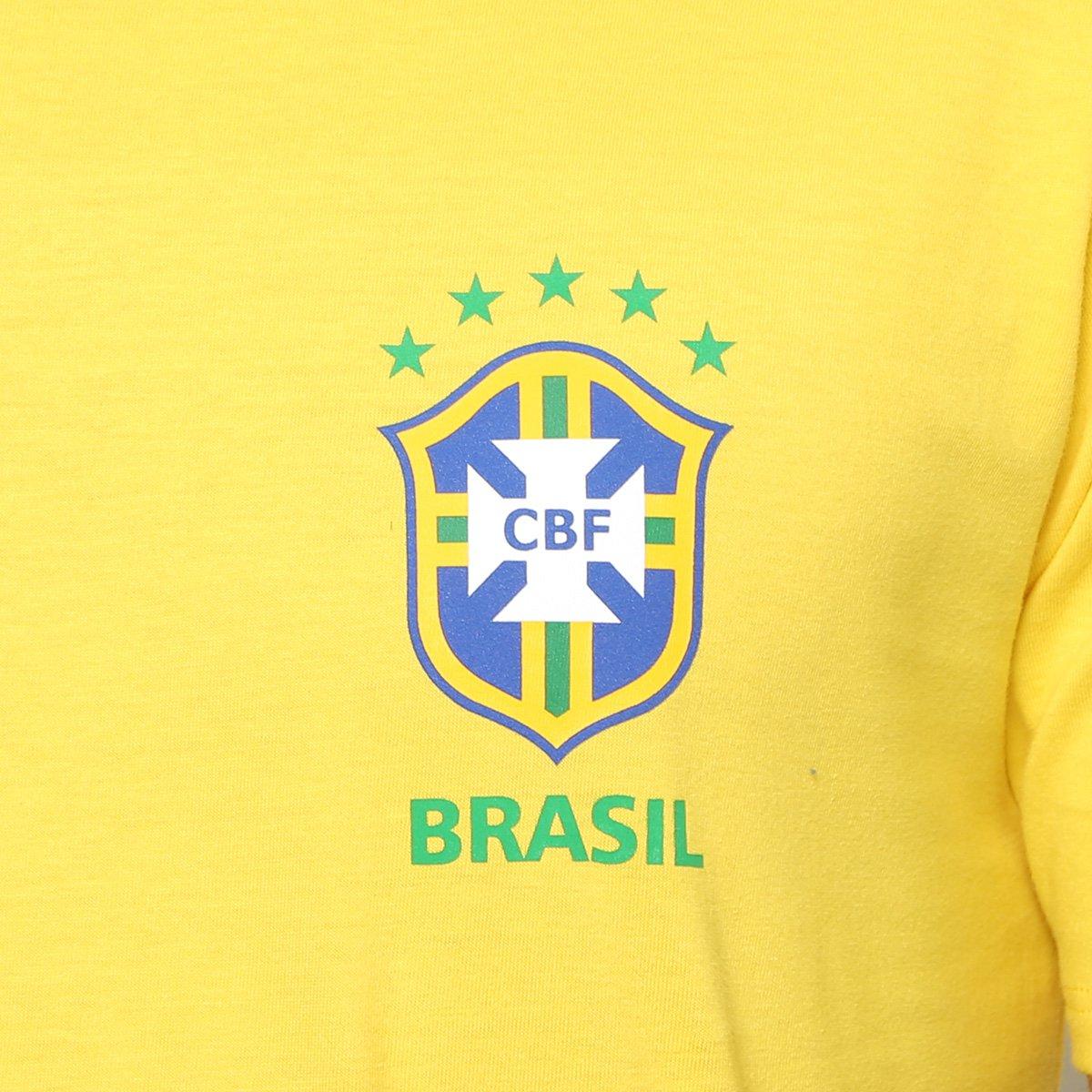 Camiseta Seleção Brasil Nike Crest Masculina - Amarelo e Verde ... 55c09efefb9ec