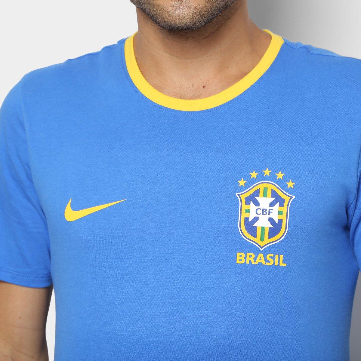 Camiseta Seleção Brasil Nike Crest Masculina - Azul e amarelo ... c6e5b31603a88