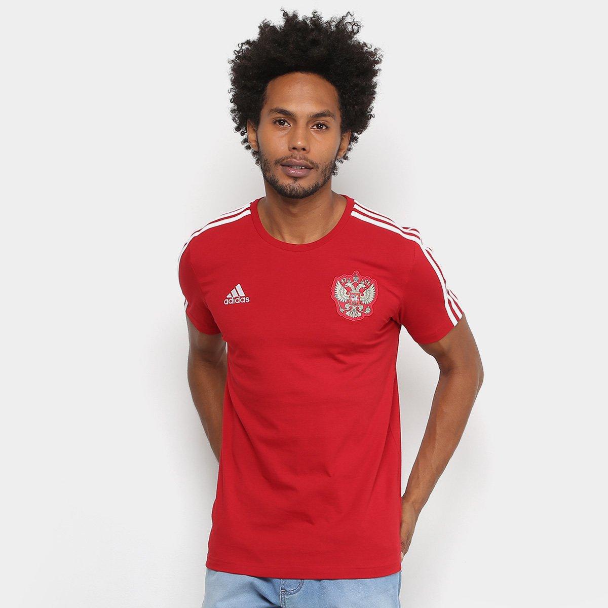 Camiseta Seleção Rússia Adidas 3S Masculina - Vermelho e Branco - Compre  Agora  979d5b6736470