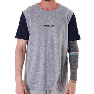 Camiseta Sensation Cinza com Manga Azul - Head