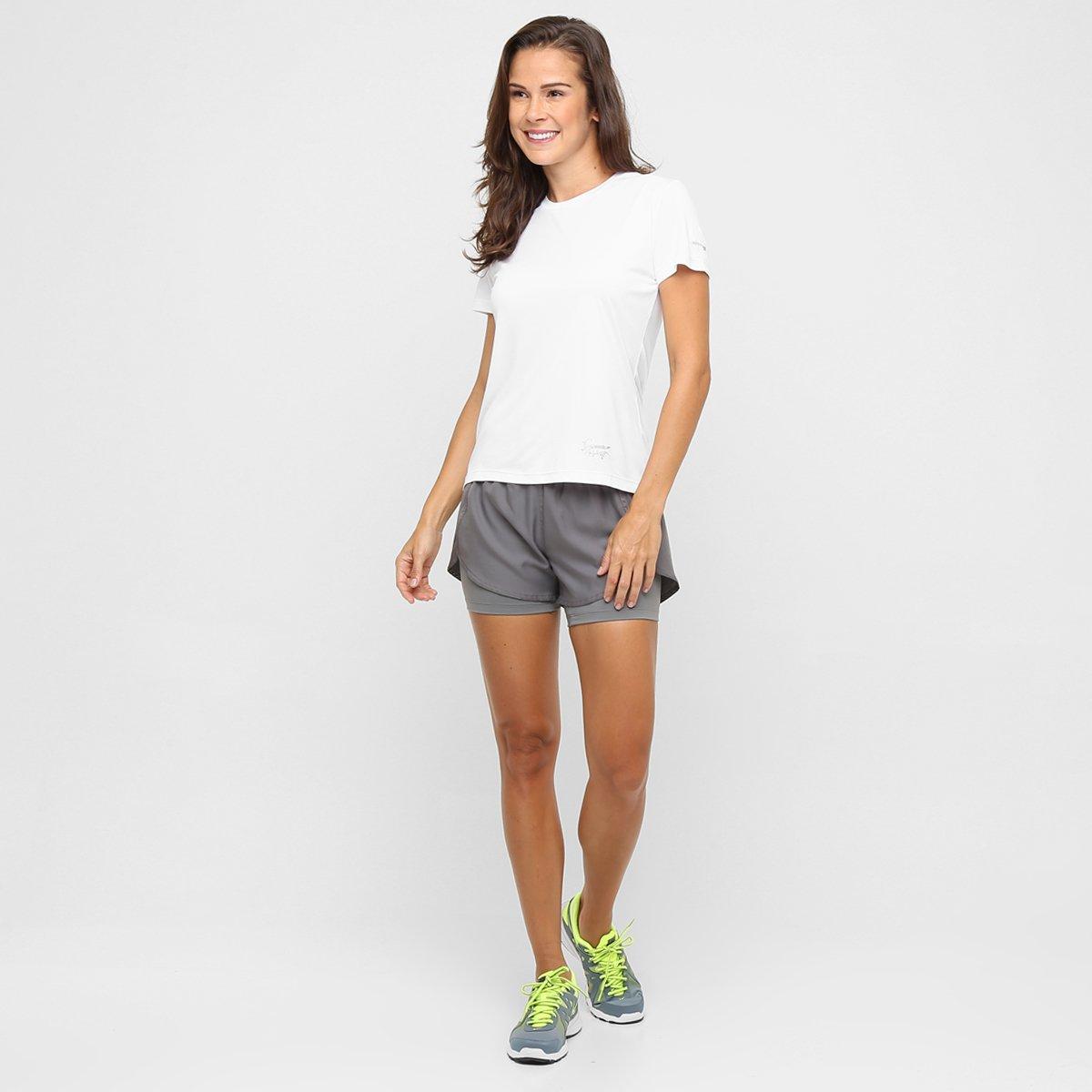 UV Camiseta Com Branco Interlock Feminina Proteção Proteção Speedo Interlock Com Speedo Camiseta UwUzrFq