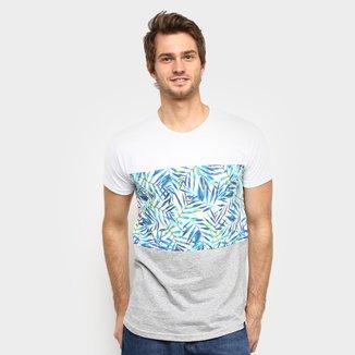 Camiseta Squadrow Long Recorte Folhas Masculina
