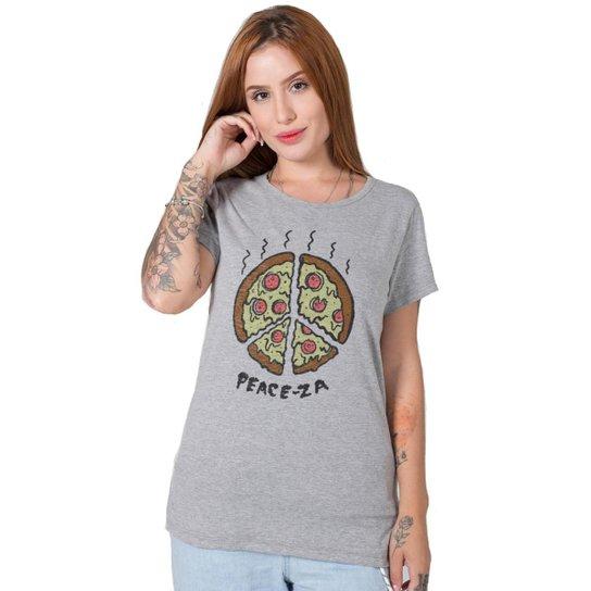 Camiseta Stoned Peace-za Feminina - Cinza