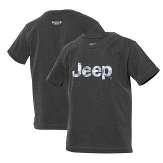 Camiseta Super Premium Inf. JEEP Logo Camuflado Estonada - Preta
