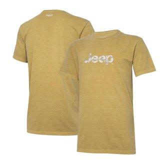 Camiseta Super Premium JEEP Logo Camuflado Estonada - Areia
