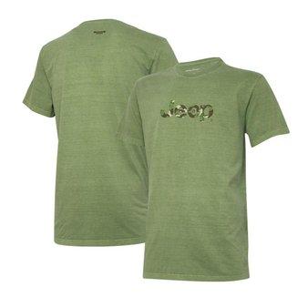 Camiseta Super Premium JEEP Logo Camuflado Estonada - Verde Militar