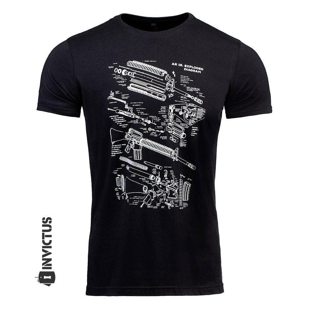 Camiseta Concept Preto T BLACK T AR15 shirt Camiseta Invictus 6dwUwB7x