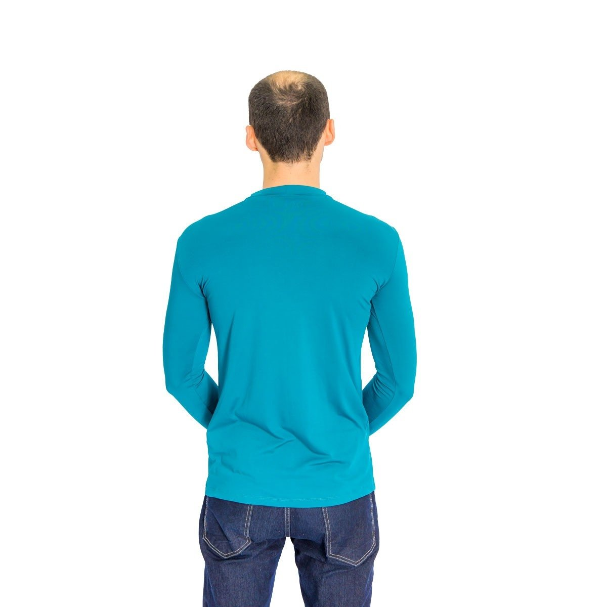 Azul Camiseta Térmica Camiseta Petróleo Masculina Manga Longa Térmica vYz1Pqz