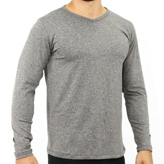 Camiseta Térmica Masculina Gola Careca Manga Longa Fitness