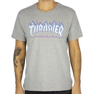 Camiseta Thrasher Flame Logo Sky Masculino