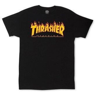 Camiseta Thrasher Magazine Classic Flame - Preto