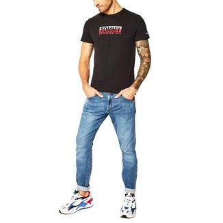 Camiseta Tommy Jeans Contrast Box Preto Tam. GG
