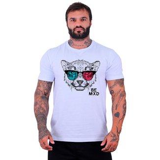 Camiseta Tradicional Manga Curta MXD Conceito Felino Visão 3D Masculina