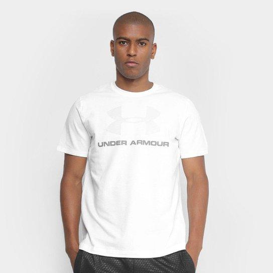 Camiseta Under Armour Cc Sportstyle Logo Masculina - Branco+Grafite
