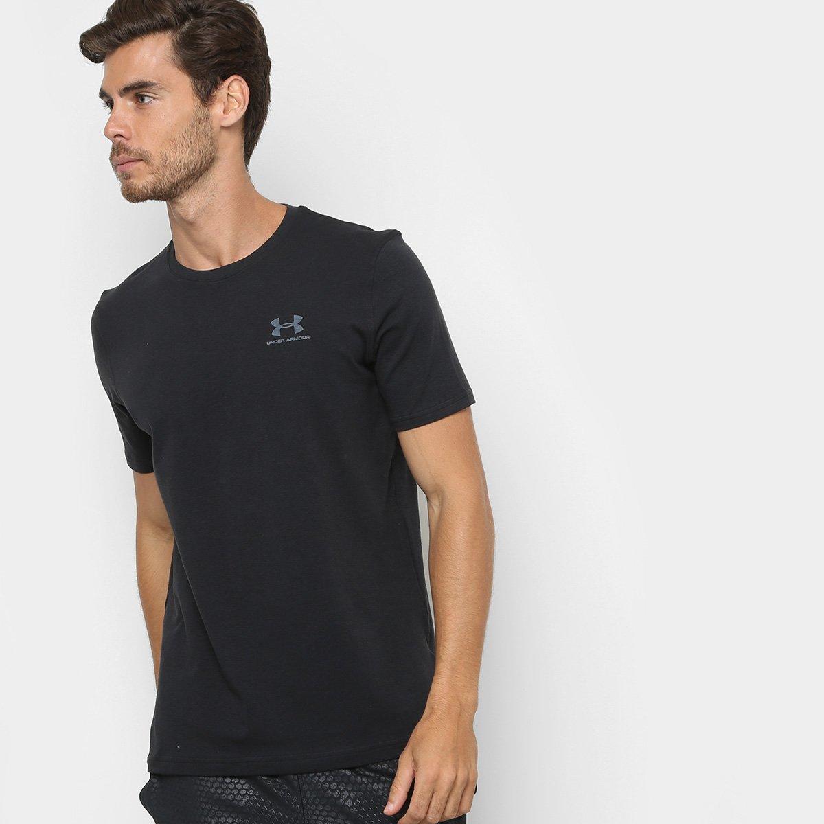 506fe4f60b0 Camiseta Under Armour Left Chest Lockup Masculina - Preto e Cinza - Compre  Agora