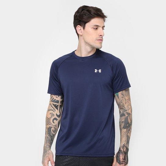 Camiseta Under Armour UA Tech SS Masculina - Marinho+Branco