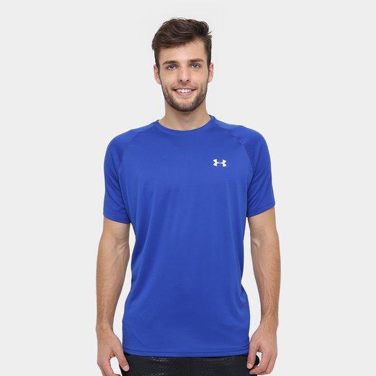 Camiseta Under Armour UA Tech SS Masculina - Azul+Branco