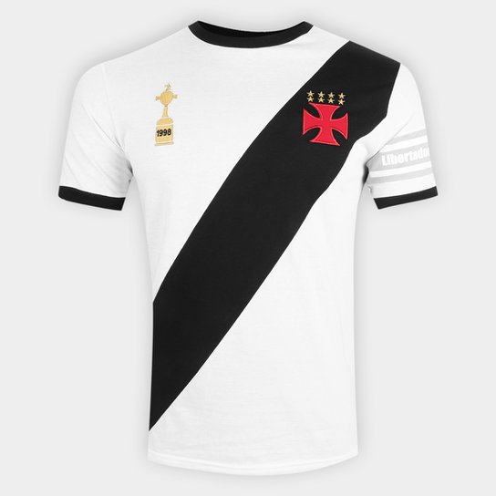 Camiseta Vasco Capitães Libertadores 1998 n° 4 Masculina - Branco