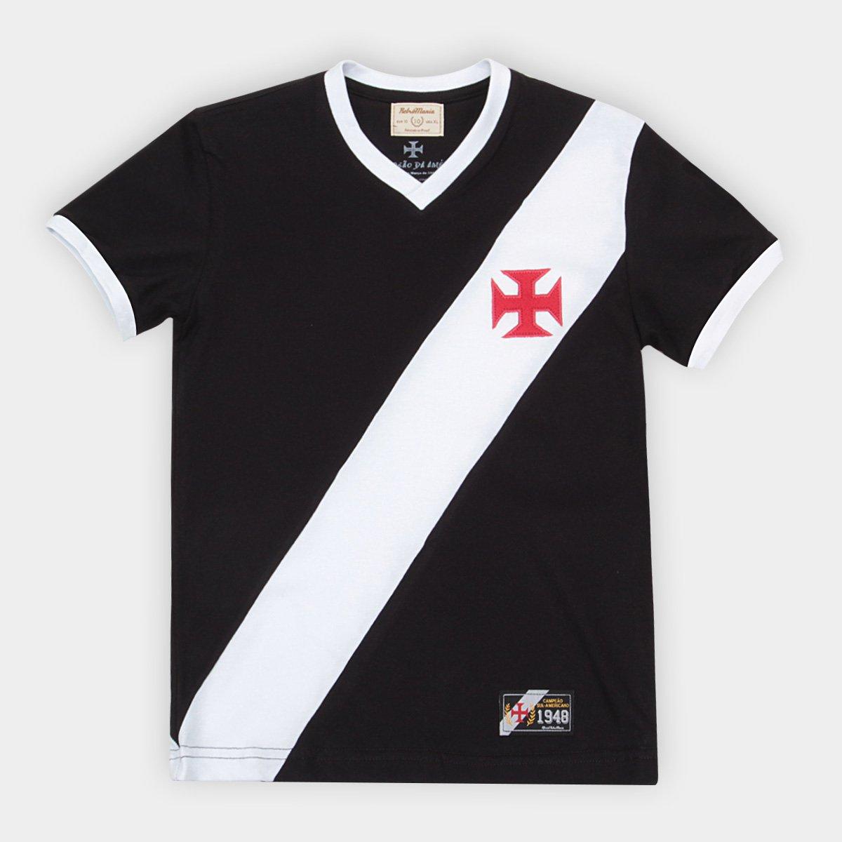 ff17ec2089bc1 Camiseta Vasco Juvenil Retrô Mania 1948 - Preto e Branco - Compre Agora