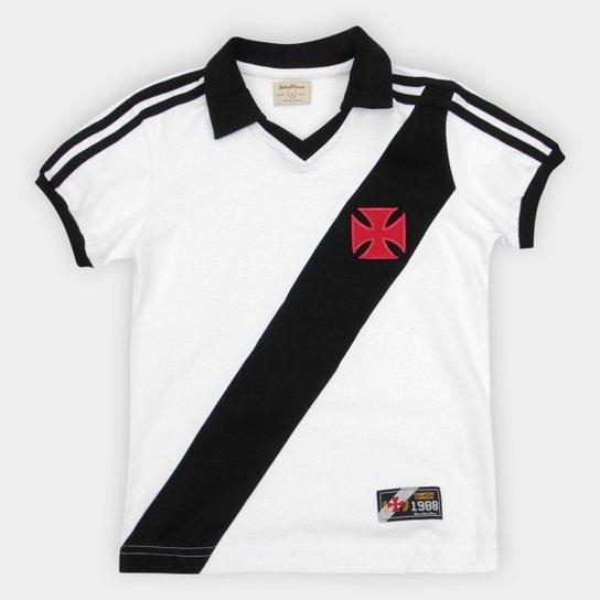 Camiseta Vasco Juvenil Retrô Mania 1988 - Branco+Preto