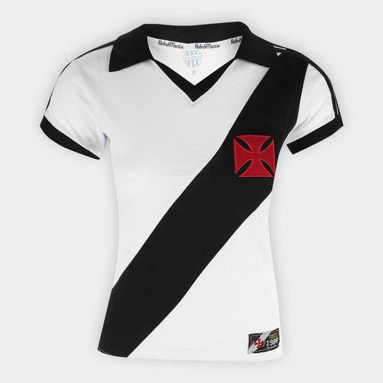 Camiseta Vasco Retrô Mania 1988 Feminina - Branco+Preto