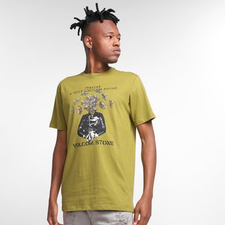 Camiseta Volcom Slim Fit Floral Face Masculina