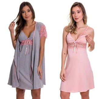 Camisola Amamentação com Robe Cinza com Rosê + Camisola Amamentação Rosê Estilo Sedutor - V130