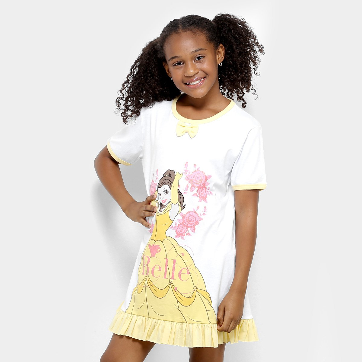 Camisola Feminina Infantil Lupo Camisola Infantil e Branco Amarelo Bela Princesas YYrqa