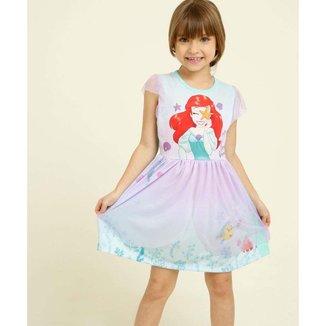 Camisola Infantil Manga Curta Tule Princesa Ariel Disney Tam 4 A 10 - 10047732087