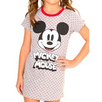 Camisola Infantil Menina Curta Mickey Mouse 55.03.0006 Cinza