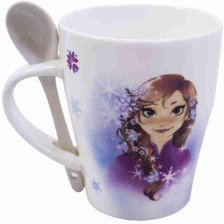 Caneca De Porcelana Com Colher Anna e Elsa Belas Frozen 310ml - Disney