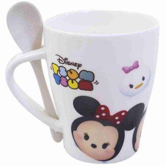 Caneca De Porcelana Com Colher Mickey e Minnie Tsum Tsum 310ml - Disney
