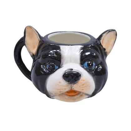 Caneca De Porcelana Rosto Cachorro Pug Francês Preto E Branco 470ml