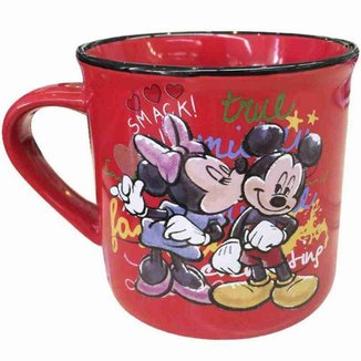 Caneca De Porcelana Vermelha Minnie Beijando Mickey 280ml - Disney