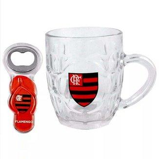 Caneca Flamengo de Vidro Com Abridor Chinelo
