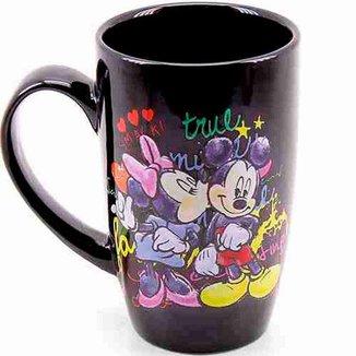 Caneca Porcelana Preta Mickey e Minnie 400ml - Disney