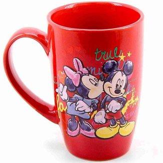 Caneca Porcelana Vermelha Mickey e Minnie 400ml - Disney