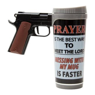 Caneca River's Edge em Forma de Pistola Prayer is the Best Way 470ml