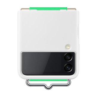 Capa Protetora Galaxy Z Flip3 Silicone com cinta Branca