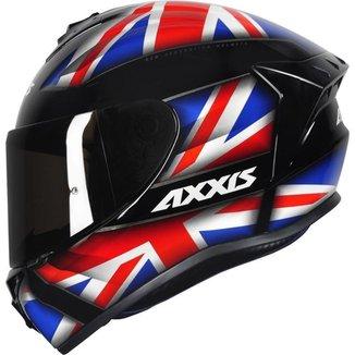 Capacete Axxis Draken UK Inglaterra Preto/Azul Brilho - 56