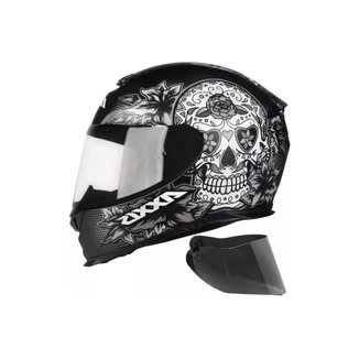 Capacete Axxis Eagle Skull e Cinza Com Viseira Fumê