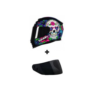 Capacete Axxis Eagle Skull Preto e Azul Gloss Com Viseira Fumê